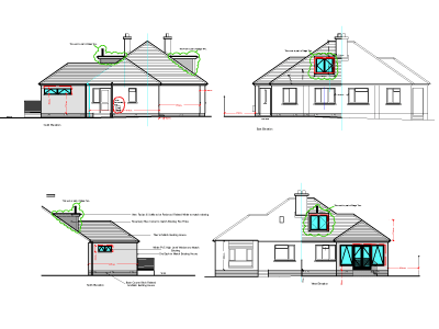North, South, East and West Proposed Elevations